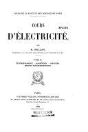Cours d'électricité: Électrostatique. Lois d'Ohm. Thermo-électricité