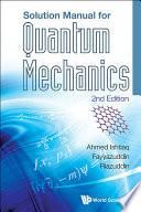 Solution Manual for Quantum Mechanics