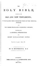 Book The Holy Bible ... With a General Introduction and Short Explanatory Notes, by B. Boothroyd