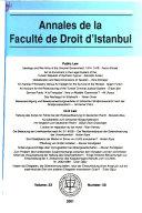 Annales De La Facult De Droit D Istanbul