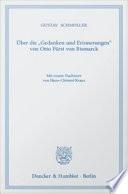 Uber die Gedanken und Erinnerungen Von Otto Furst Von Bismarck