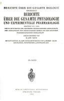 Berichte über die gesamte Physiologie und experimentelle Pharmakologie