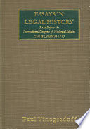 Essays In Legal History Read Before The International Congress Of Historical Studies Held In London In 1913