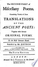 The first [-sixth] part of Miscellany poems