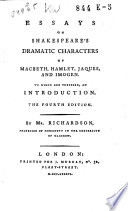 Essays on Shakespeare s Dramatic Characters of Macbeth  Hamlet  Jaques  and Imogen