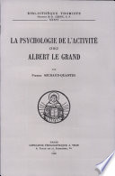 illustration du livre La Psychologie De L'activite Chez Saint Albert Le Grand