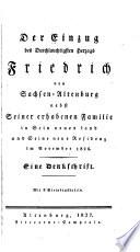 Der Einzug des Durchlauchstigsten Herzogs Friedrich von Sachsen Altenburg nebst Seiner erhabenen Familie in Sein neues Land und Seine neue Residenz im November 1826