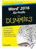 Word 2016 fÃ1⁄4r Profis fÃ1⁄4r Dummies