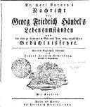 Dr. Karl Burney's Nachricht von Georg Friedrich Händel's Lebensumständen