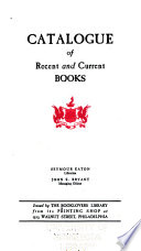 Catalogue of Recent and Current Books
