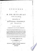 Speeches of M  de Mirabeau  the Elder  Pronounced in the National Assembly of France