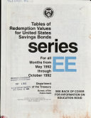 Book Tables of Redemption Values for United States Savings Bonds for All Months from