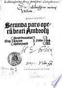 Secunda pars operum beati Ambrosii
