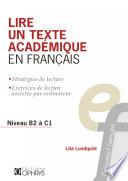 Lire un texte académique en français Stratégies de lecture