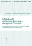 Schlussbericht der Historikerkommission der Republik Österreich