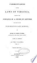 Commentaries On The Laws Of Virginia