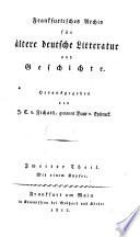 Frankfurtisches Archiv f  r   ltere deutsche Literatur und Geschichte
