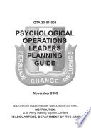 PSYCHOLOGICAL OPERATIONS LEADERS PLANNING GUIDE