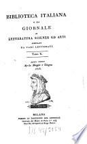 Biblioteca italiana ossia giornale di letteratura  scienze ed arti