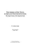 Ebook The American Epic Novel in the Late Twentieth Century Epub W. Gilbert Adair Apps Read Mobile