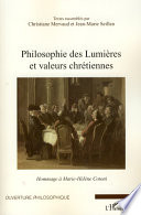 Philosophie des Lumières et valeurs chrétiennes hommage à Marie-Hélène Cotoni