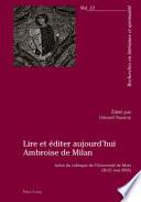 Lire et   diter aujourd hui Ambroise de Milan