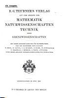 B  G  Teubner s verlag auf dem gebiete der mathematik naturwissenschaften technik nebst grezwissenschaften
