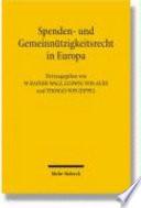 Spenden- und Gemeinnützigkeitsrecht in Europa