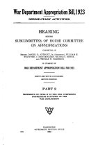 War Department appropriation bill  1923