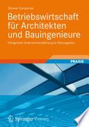 Betriebswirtschaft f  r Architekten und Bauingenieure