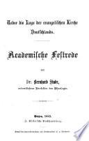 Ueber die Lage der evangelischen Kirche Deutschlands