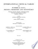 International Critical Tables of Numerical Data, Physics, Chemistry and Technology