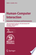 Human Computer Interaction  Interaction Techniques and Environments