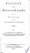 Statistik und Staatenkunde. Ein Beitrag zur Staatenkunde von Europa