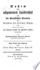 System des allgemeinen Landrechts für die preussischen Staaten