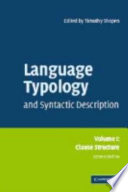 Language Typology and Syntactic Description  Volume 1  Clause Structure