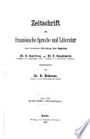 Zeitschrift f  r franz  sische Sprache und Literatur