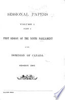 Sessional Papers     of the     Parliament of the Dominion of Canada