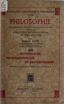 Psychologie Phénoménologie et Existentialisme...