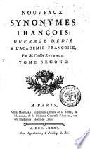 Nouveaux synonymes fran  ois  ouvrage d  di   a l acad  mie fran  oise  par m  l abb   Roubaud  Tome premier    quatrieme