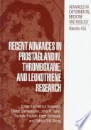 Recent Advances In Prostaglandin Thromboxane And Leukotriene Research book