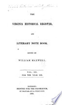 Virginia Historical Register And Literary Note Book