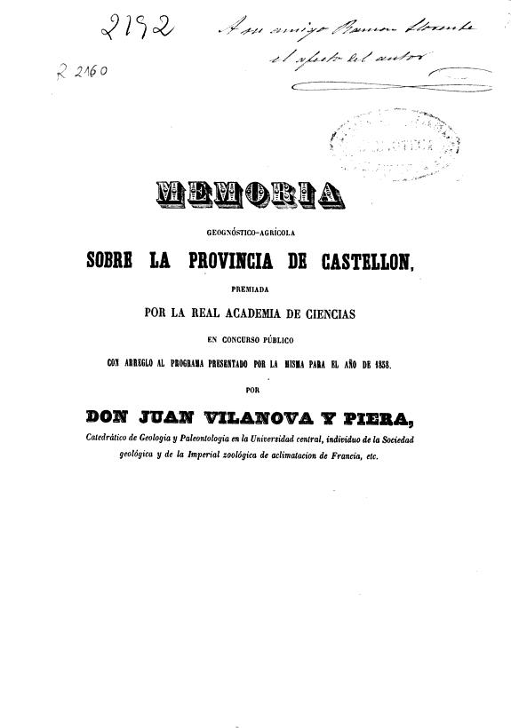 Memoria geognóstico-agrícola sobre la provincia de Castellón /