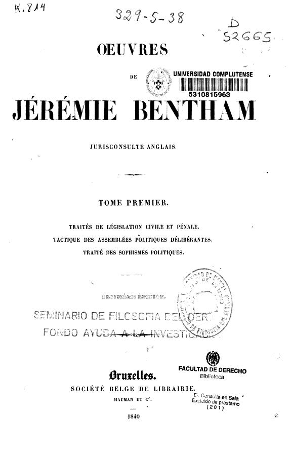 Oeuvres de Jérémie Bentham.