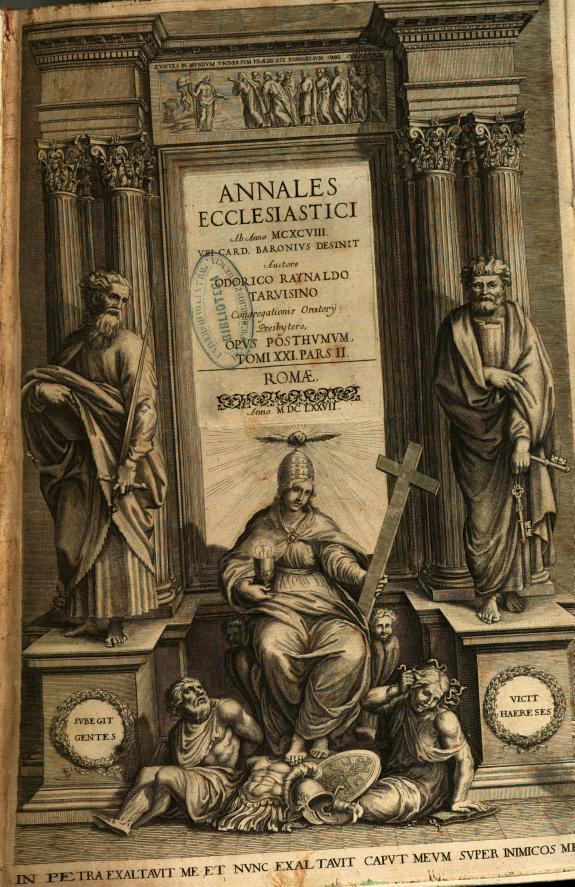 Annales ecclesiastici :ab anno MCXCVIII vbi Card. Baronius desinit.