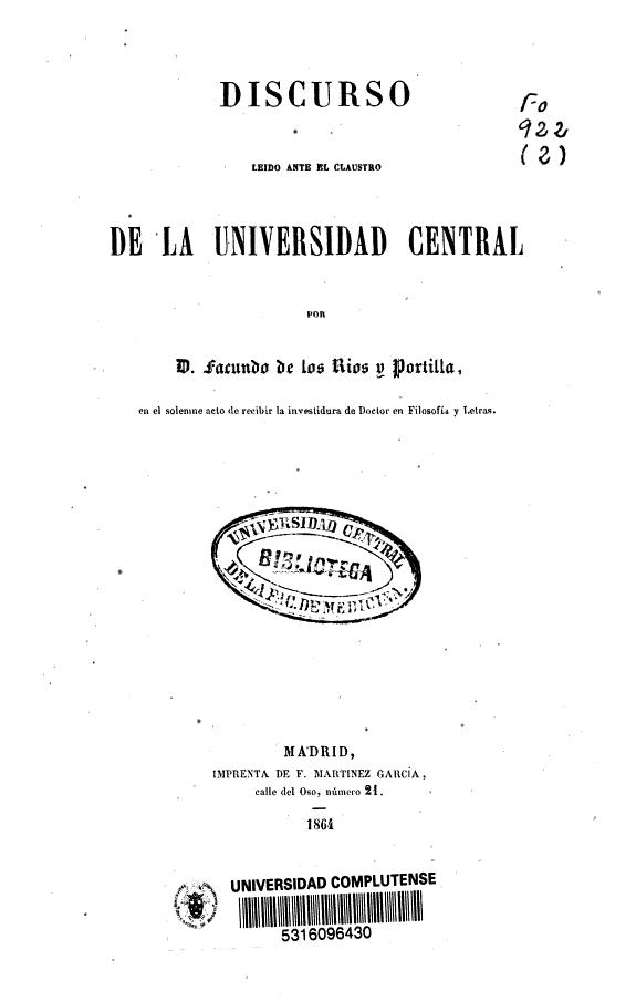 [Historia de la filosofía : Juan Luis Vives ... ] :Discurso leído ante el claustro de la Universidad Central /