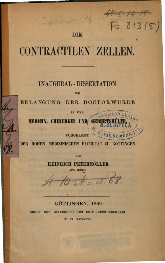Die Contractilen Zellen :Inaugural-Dissertation zur Erlangung der Doctorwürde ... /