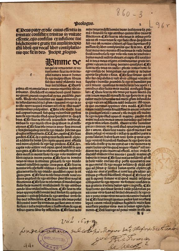 Contenta Primun volumen Contemplatio Remundi :duos libros : continens Libellus bla[n]querme de amico et amato