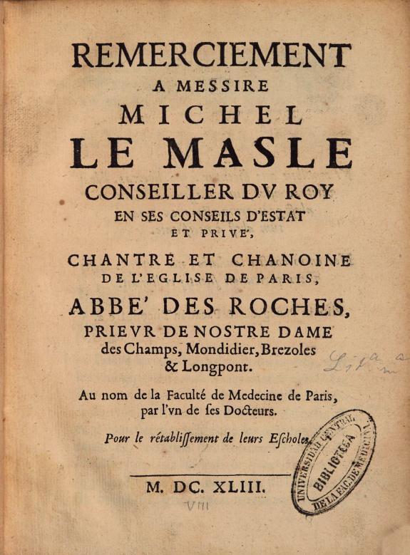 Remerciement à Messire Michel Le Masle, conseiller du Roy en ses conseils d