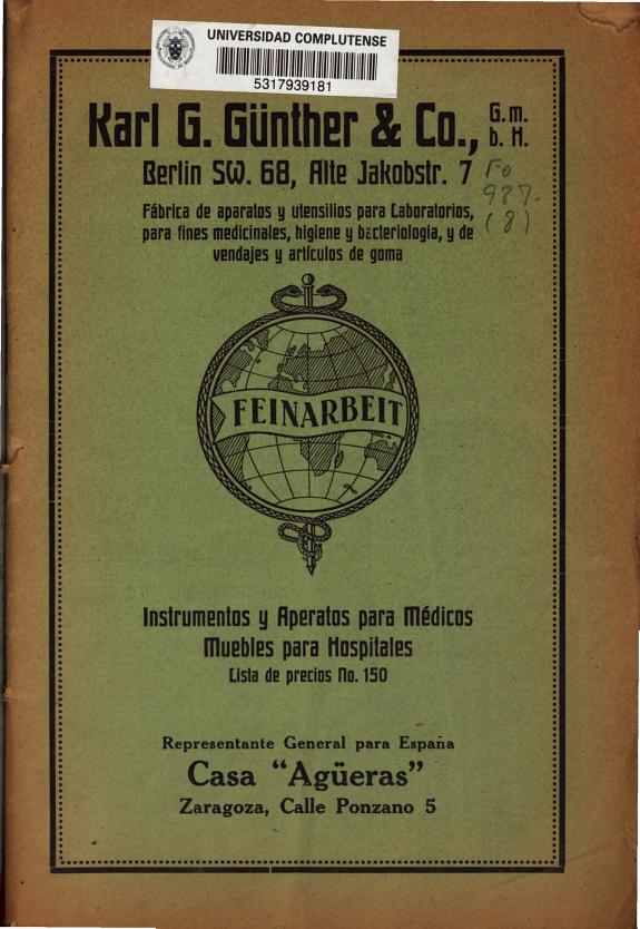 Karl G. Günther & Co. :instrumentos y aperatos [sic] para médicos, muebles para hospitales